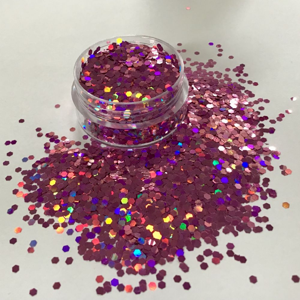 HOLOGRAPHIC PINK GLITTER  POT - 10g